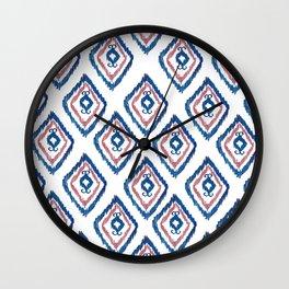 Rugged Royal - aztec watercolour pattern Wall Clock
