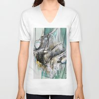 chandelier V-neck T-shirts featuring Vintage Chandelier  by Jessica Rae Sommer