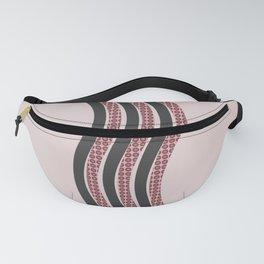 Pastel Pink Textured Black  Waves Fanny Pack