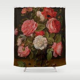 "Jacob van Hulsdonck ""Roses in a Glass Vase"" Shower Curtain"