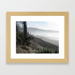 Misty Morning Walk Framed Art Print