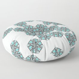 Snowy Rocky Mountain Tops Illustration - Grey and Blue Palette Floor Pillow