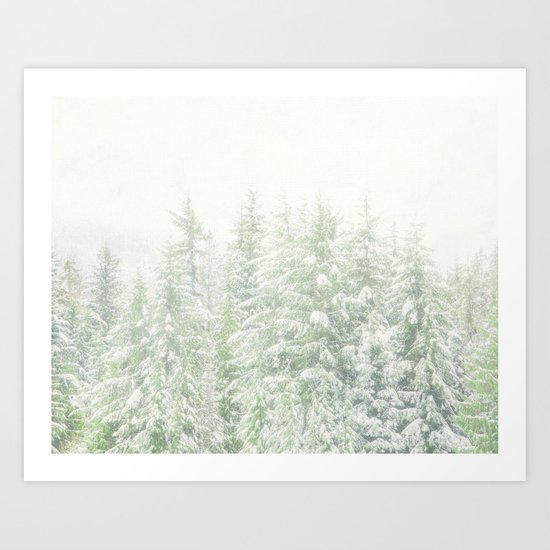 White Winter Forest with a Hint of Mint Art Print