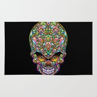 psychedelic art Area & Throw Rugs featuring Psychedelic Skull Art Design by BluedarkArt
