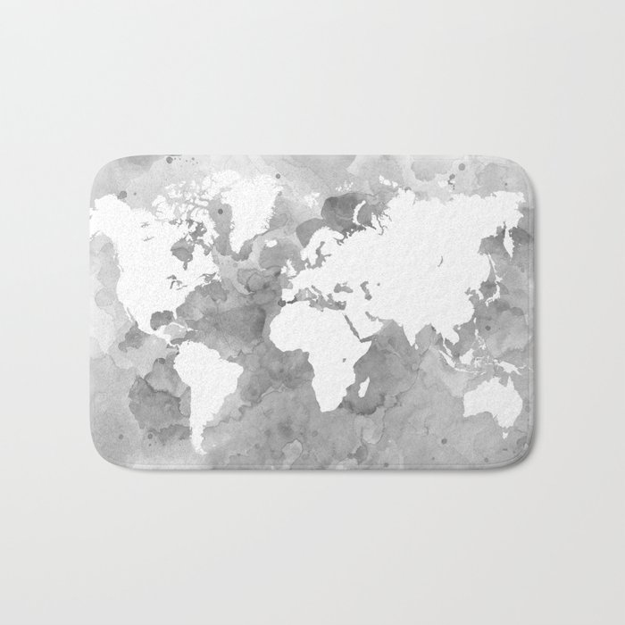 Design 49 grayscale world map bath mat by artbylucie society6 design 49 grayscale world map bath mat gumiabroncs Image collections
