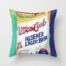 Utica Club Beer Throw Pillow