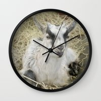 butcher billy Wall Clocks featuring Billy Goat by Mary Kilbreath