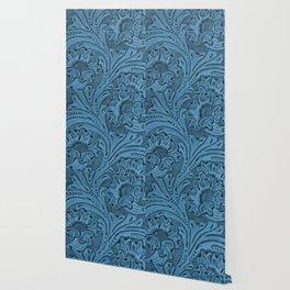 Cornflower Blue Tooled Leather Wallpaper