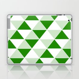 Abstract Triangles pattern - green and white. Laptop & iPad Skin