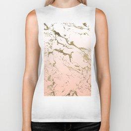 Pink blush white ombre gradient gold marble pattern Biker Tank