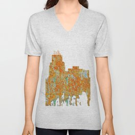 Durham,NC Skyline - Rust Unisex V-Neck