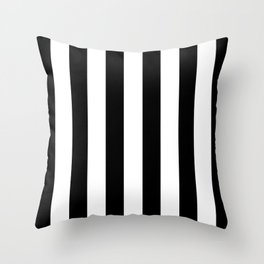 Simply Vertical Stripes in Midnight Black Throw Pillow