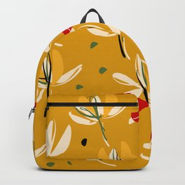 Vanilla flowers on a peanut background Backpack