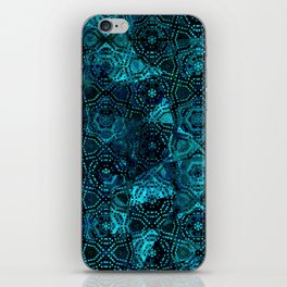 Starry Deep Blue Night Sky , Abstract Geometric Pattern with Moon Lit Domino Stars iPhone Skin