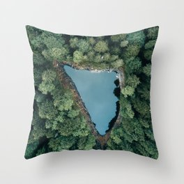 Hidden Lake in a Forest - Landscape Photography Throw Pillow