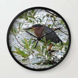 Green Heron at Lakeside Wall Clock