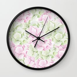 Blush pink green hand painted watercolor floral Wall Clock