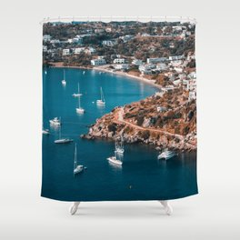 Sailing boats in the island of Leros Shower Curtain