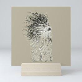 Drawing of an Old English Sheep Dog Drying Off Mini Art Print