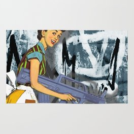 Housewife Goes Crazy Funny Tee Rug