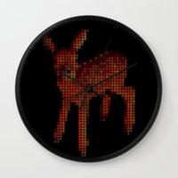 bambi Wall Clocks featuring Bambi by Krizan