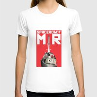soviet T-shirts featuring Retro Soviet minimalism space robot by Cardula