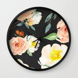 Watercolor Flower Collage on Chalkboard Wall Clock