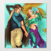 caleb troy Canvas Prints featuring Cornelia and Caleb by Miyukin