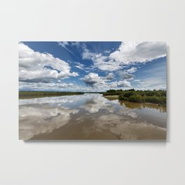 Beautiful clouds over river and reflection in water Metal Print