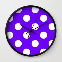 Large Polka Dots - White on Indigo Violet Wall Clock