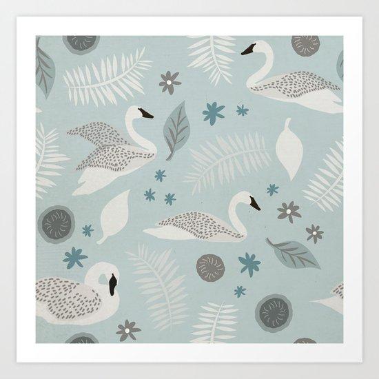 White Swans adrift Art Print