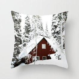 Red Log Cabin Winter Forest Throw Pillow