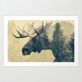 Moose - Double Exposure Art Print
