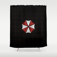 evil dead Shower Curtains featuring Resident Evil Umbrella Corporation  by DavinciArt