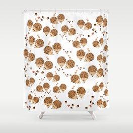 Hedgehogs in autumn Shower Curtain