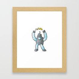 cartoon blue eletric robot Framed Art Print