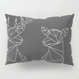 Geometric Stag and Doe (White on Grey) Pillow Sham