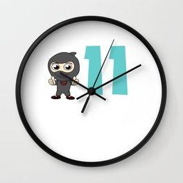 Birthday Ninja 11th Party Samurai Ninjas Gift Japanese Ninja stars Fighter Gift Wall Clock