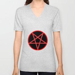 Pentagram Over Black Unisex V-Neck