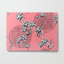 peonies & manhole covers toile Metal Print