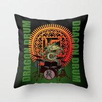 drum Throw Pillows featuring Dragon drum by kuuma