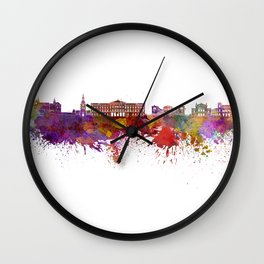 Oslo skyline in watercolor background Wall Clock
