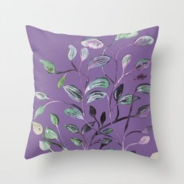 Silky Lavender Greenery Leaves Throw Pillow