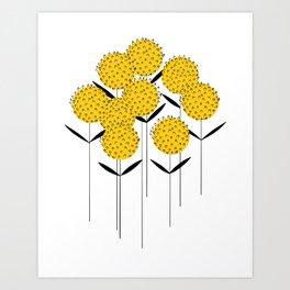 Minimalist yellow and black flowers Art Print