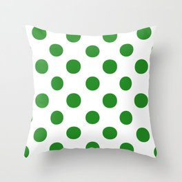 Polka Dots (Forest Green/White) Throw Pillow