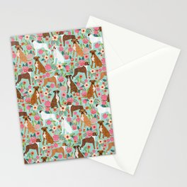 Boxer floral dog breed gifts for boxer lovers pet florals boxers must haves Stationery Cards