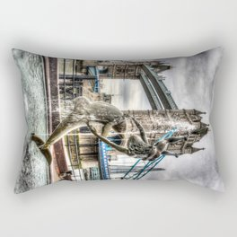 The Girl and Dolphin and Tower Bridge Rectangular Pillow