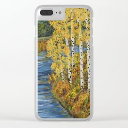 Autumn in the Mountains, Fall Decor, Aspen Birch Tree Painting Clear iPhone Case