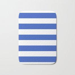 Cerulean blue - solid color - white stripes pattern Bath Mat