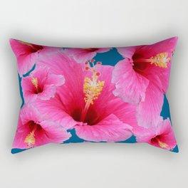 TEAL MODERN ART GIRLY PINK HIBISCUS Rectangular Pillow